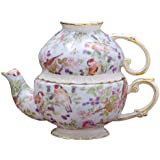 Gracie China by Coastline Imports 5-1/4-Inch Tea For One Set, Blue Birds Chintz with Gold Trim