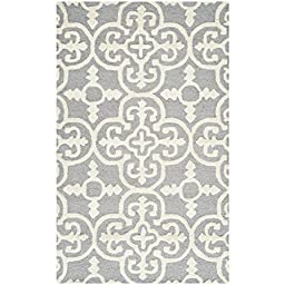 Safavieh Cambridge Collection CAM133D Handmade Silver and Ivory Wool Area Rug, 3 feet by 5 feet (3\' x 5\')