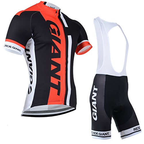 2014 Outdoor Sports Pro Team Men's Short Sleeve Giant Cycling Jersey and Bib Shorts Set Black (Cycling Clothes Hincapie compare prices)