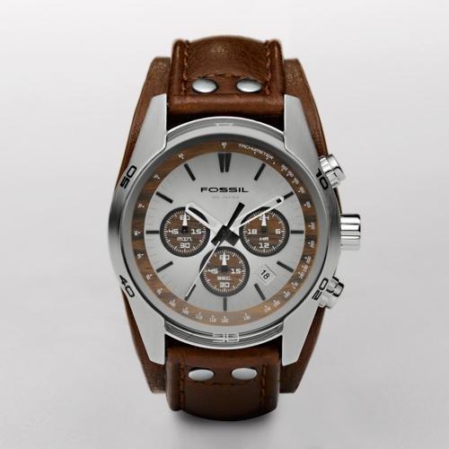Fossil Cuff Chronograph Tan Dial Watch