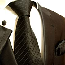 Paul Malone Necktie, Pocket Square and Cufflinks 100% Solid Black