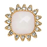 Lindsay Phillips Keiko Snap White faceted stone on a gold base with rhinestone border