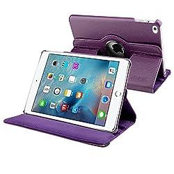 iPad Mini 4 Case, Insten 360-degree Swivel Stand Folio Flip Leather Case Cover For Apple iPad Mini 4 2015, Purple