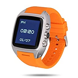 Ourtime X01 Smart Watch Standalone Phone Android 4.4 OS Dual-core CPU 2G GSM 3G WCDMA 1900MHz Sport Pedometer Heart Rate Monitor GPS IP67 Waterproof 2.0M Camera, Orange and Silver