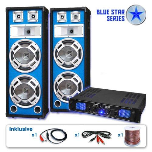 """DJ Set """"Basskern"""" impianto audio completo PA 2800 Watt (2 x casse altoparlanti Skytec, 1 amplificatore finale di potenza, set di cavi)"""