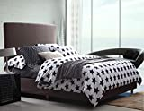 Dexim Printed Poly Satin 4 Piece Bedding Set With Reversible Duvet Cover (Black)