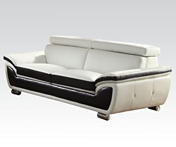 Olina Sofa in Black and White Finish by Acme Furniture