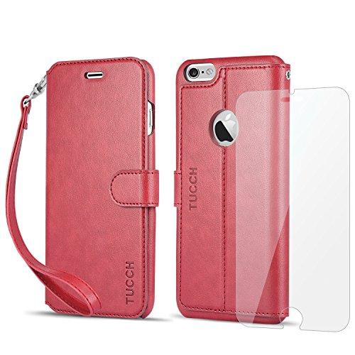 iPhone 6s Plus ケース / iPhone 6 Plus ケース 手帳型 TUCCH® PUレザーケース 「無料の液晶保護ガラスフィルム付き」 カードポケット ストラップ スタンド機能付き マグネット式 アイフォン6s Plus / 6 Plus 5.5インチ 用 財布型 カバー レッド