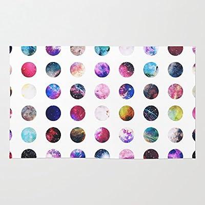 Society6 Rainbow Nebula Galaxy Girly Polka Dots Pattern Rug