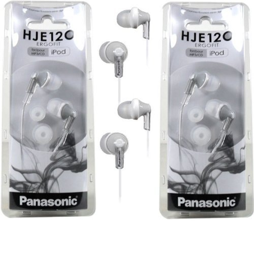 Panasonic Rp-Hje120 Ergofit In-Ear Headphones Stereo Earbuds (2-Pack, Silver)