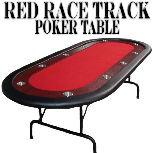 Red Felt Poker Chip Table with Dark Wooden Race Track & 10 Cup Holders with Solid Wood Construction