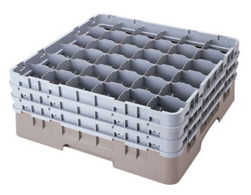 Cambro 36S638-151 6-7/8-Inch Camrack Polypropylene Stemware And Tumbler Glass Rack With 36 Compartments, Full, Soft Gray