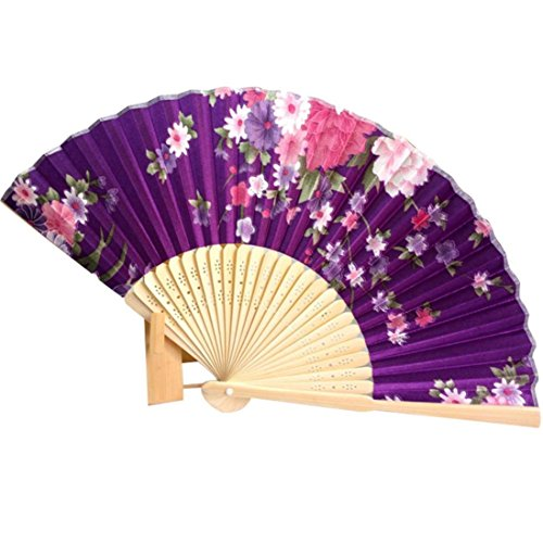 Binmer(TM) Japanese Cherry Blossom Folding Hand Dancing Wedding Party Decor Fan Chinese Fans (Purple) (Hand Fan Purple compare prices)