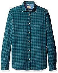 Rosé Pistol Men's Long Sleeve La Jolla Mini Check Shirt, Shady Green, S