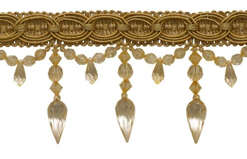 Antique Gold 3.75 Inch Beaded Tassel Fringe, Style# BF334 Color: ANTIQUE GOLD - GD0012 (Sold by The Yard)