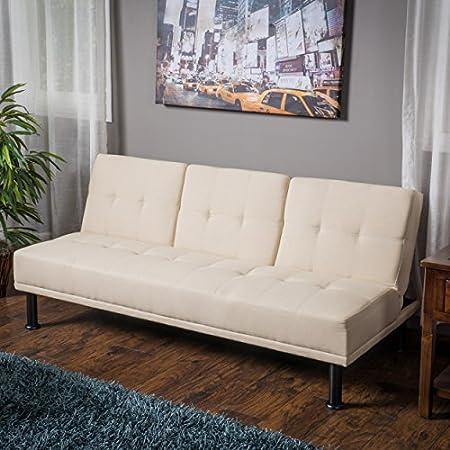 Heston Ivory Linen Click Clack Futon 3-Seater Futon Sofa Bed