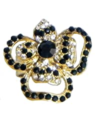 Black And White Stone Studded Flower Ring - Stone And Metal