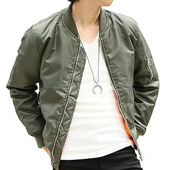 全5カラー メンズ MA-1 中綿 防寒 フライト ミリタリー ジャケット エムエーワン (L, カーキ)