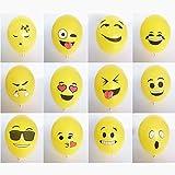 logei® 100St Emoji Luftballons verschiedene Miene Laune Ballons Heliumballons Deko für Valentinstag, Verlobung, Hochzeit, Party (Mienetyp nicht wählbar)