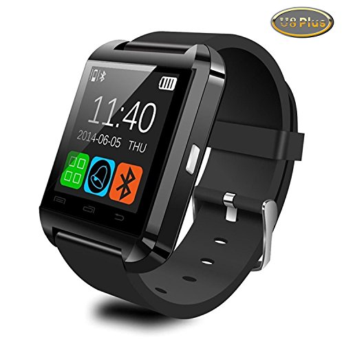 Luxsure® 2015 Upgraded U8 Plus Version Bluetooth Smartwatches Smart Watch Wristwatches APP Fully Compatible IOS Android iPhone Samsung LG HTC Mobile Phone (U8 Plus-Black)