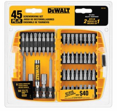Dewalt Accessories Dw2166 45 Piece Or Pc Screwdriving Set Screwdriver Bit Sets