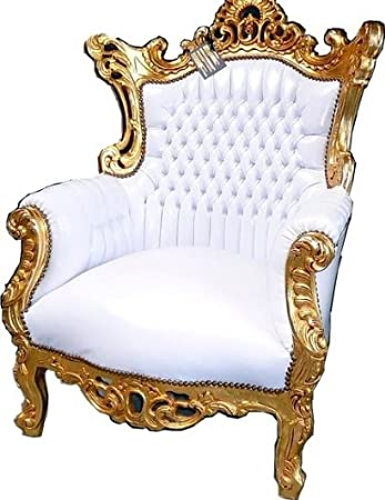 Casa Padrino Baroque Chair Al Capone White / Gold - Baroque furniture