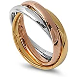 3MM Stainless Steel Tri color Gold, Rose, Silver Tone Interlocked Rolling Band Ring (Size 3 to 12)