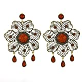 Contemporary Flower Brass Tone Dangle Earring with Multiple Burgundy Stones