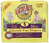 Earths Best Chlorine Free Size 5 Diapers, 26 count (Pack of 4)