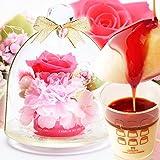 ミニガラスドームプリザ&プリンセット プリザーブドフラワー 花とスイーツ (ピンク)