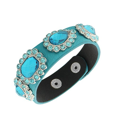 Faux Blue Leather Silver-Tone Crystals Cz Snap Wristband Womens Bangle Bracelet