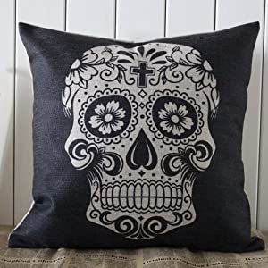45x45cm Black Skull Halloween All Hallows' Eve Gift Present Linen Cushion Covers Pillow Cases Trick-or-treating from Decho Home Decor
