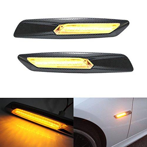 Ijdmtoy® Bmw F10 Style Amber Led Carbon Fiber Checker Finish Side Marker Lights Assembly For Bmw E87 E90 E92 E60 1 3 5 Series