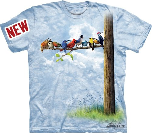 Mountain Bird Tree Adult Size T-shirt , Blue , Medium