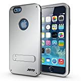 iPhone 6 4.7 Case - JOTO iPhone 6 Hybrid Tri Layer Armor Cover Case with Kickstand (Flexible TPU + double Hard PC), Exclusive for Apple iPhone 6 4.7 inch (2014) (Silver, Black)