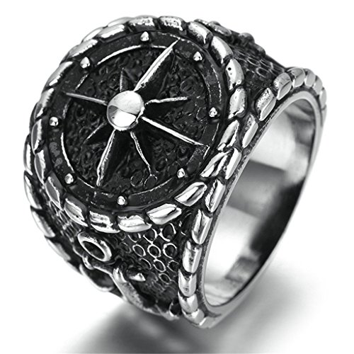 Stainless Steel Ring for Men, Anchor Ring Gothic Black Band Size 12 Epinki