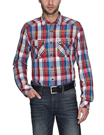 TOM TAILOR Denim Herren Freizeithemd 20174580012/heringbone checked shirt, Gr. 48 (M), Rot (4150)
