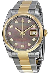 Rolex Datejust Automatic Mother of Pearl Diamond Dial Steel and 18kt Yellow Gold Watch 116203BKMDO