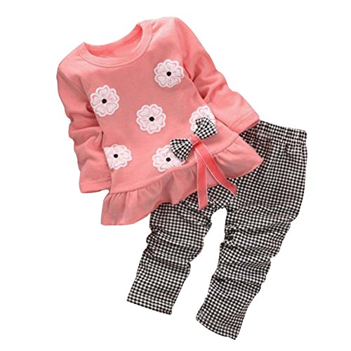 BomDeals Adorable Cute Toddler Baby Girl Clothing 2pcs Top&pants Winter Outfits (Age(2T), Flower/Pink)