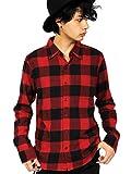 (エイト) 8(eight)4color ブロックチェック ネルシャツ 長袖シャツ コットン アメカジ レッドB L