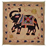 Embroidered Elephant Art Wall Hanging Traditional Antique Cotton 33 X 33 Inches