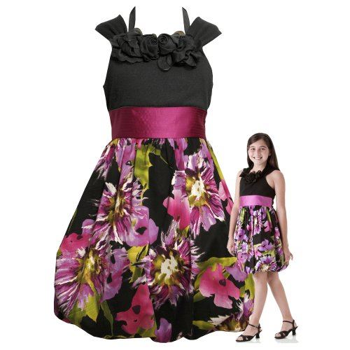 bonnie jean tween girls 7 16 black purple multi bold floral print bubble special occasion wedding flower girl pageant party dress review