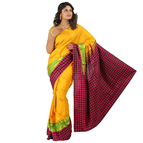 PSSB Kanchipuram Silk Sarees Handloom Double side contrast Checked border with jari