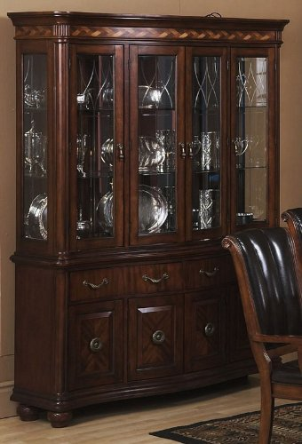 Cheap China Cabinet Buffet Hutch with Parquetry Design in Dark Walnut Finish (VF_AP-351-4-5)