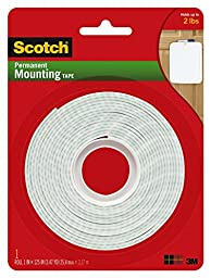 Scotch Permanent Mounting Tape, 1 Inch x 125 Inches, 2-PACK