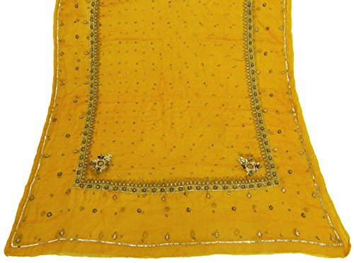 vintage-dupatta-long-indian-scarf-embroidered-chiffon-silk-fabric-yellow-stole