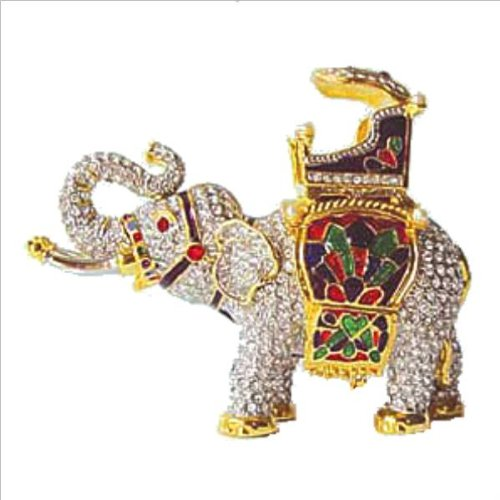 Swarovski Crystals! Indian Elephant Box with Howdah Sedan Carriage 24K Gold Jewelry Box, Trinket or Pill Box Figurine Statuette Certificate of Authenticity