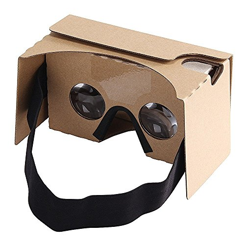 Virtoba Google Cardboard V2 3D Virtual Reality Headset Big Lens 3D VR Cardboard Glasses with Head Strap Nose Pad, Compatible with 3.5-6.0 Inch Screen Android and Apple Smartphone