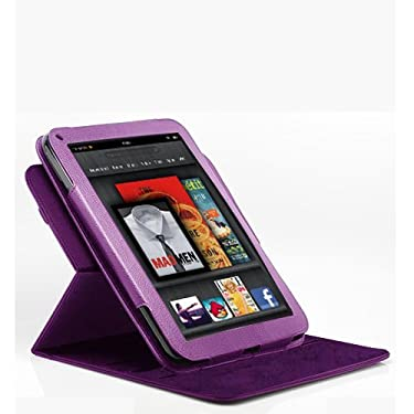 Poetic (TM) 360 degree Rotary leather case for Amazon Kindle Fire (Landscape / Portrait View) Purple Not compatible with Kindle Fire HD tablet