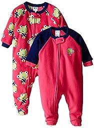 Gerber Baby-Girls Newborn 2 Pack Blanket Sleepers, Frog, 18 Months